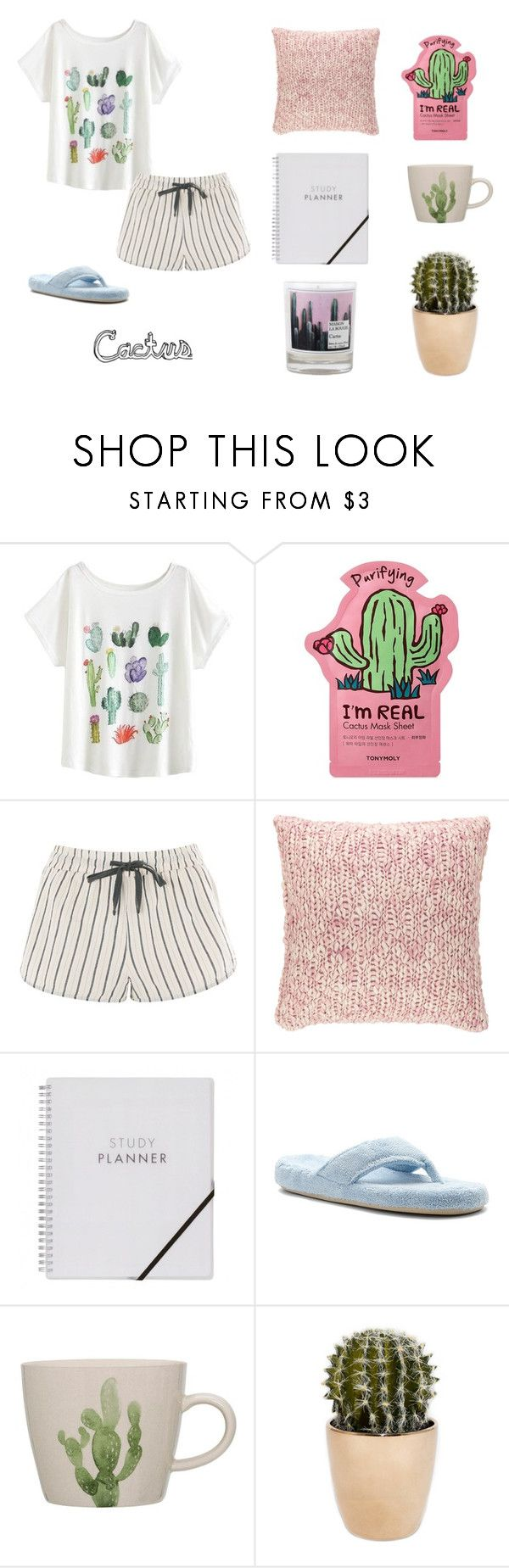 """Don't be a cactus"" by miri-rose03 ❤ liked on Polyvore featuring TONYMOLY, Topshop, Pine Cone Hill, Acorn and Maison La Bougie"