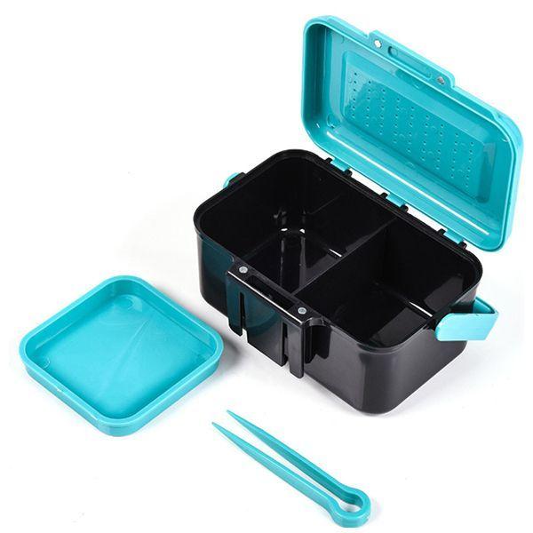 LEO 13*9*6.5cm ABS Plastic Live Bait Box Handhold/Waist Clip Fishing Tackle Box #FishingTackle
