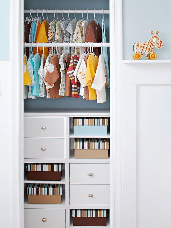 Features: Double Bars for Kids use tension bars in wardrobes - genius!
