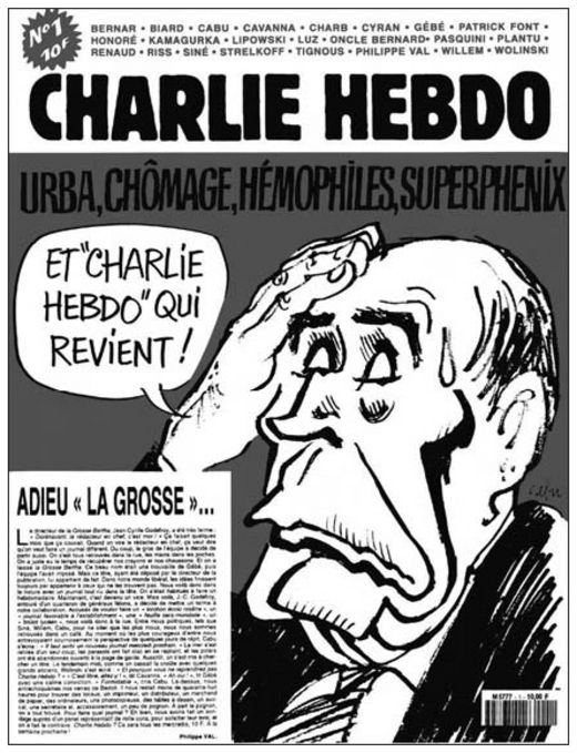 1992Charlie Hebdo renaît. Le professeur Choron est absent de la nouvelle équipe. Mais aux anciens (Cavanna, Delfeil de Ton, Siné, Gébé, Willem, Wolinski, Cabu…) s'ajoutent des petits nouveaux (Plantu, Charb, Olivier Cyran…).