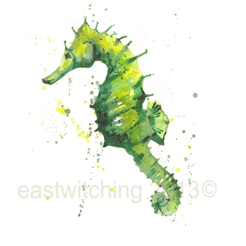 Try a piece of #original #artwork in your #nautical #bathroom. I painted this tiny #watercolour #seahorse to evoke the #tranquil world in which she lives. Watercolour Seahorse Painting - 8x10 inches - portrait format.
