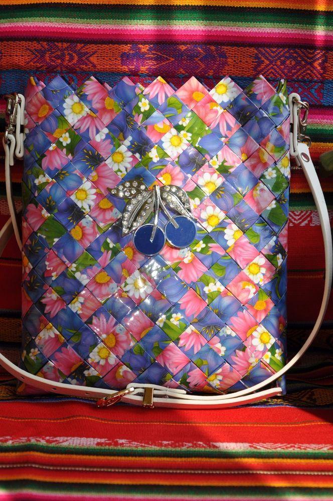 Handmade Messenger and Cross Body Magazine Clippings Bag H=9.44 W=1.58 L=7.9 #Handmade #MessengerCrossBody