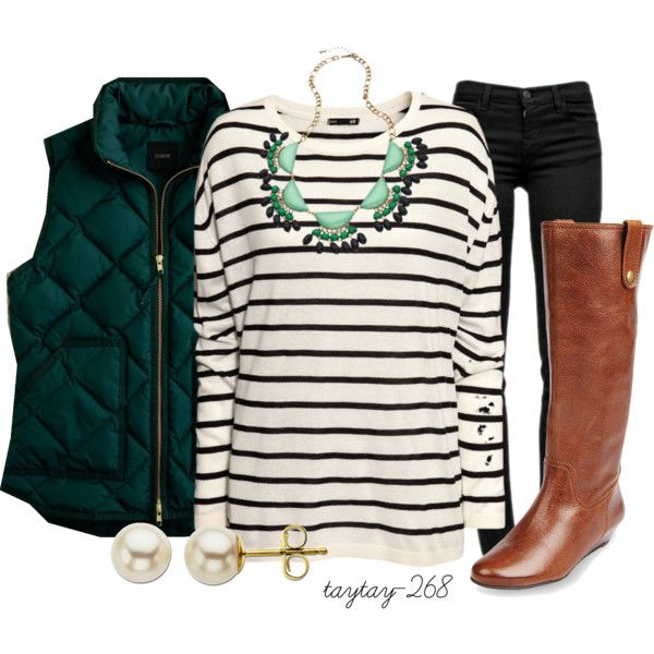 Everyday Outfit: Statement Necklaces, Fall Wint, Green Vest, Fashionista Trends, Work Appropriate, Outfit Work, Stripes, Everyday Outfits, Boots