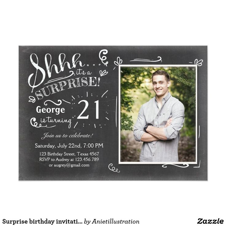 invitation letter for judging an event%0A Surprise birthday invitation    Chalkboard Rustic
