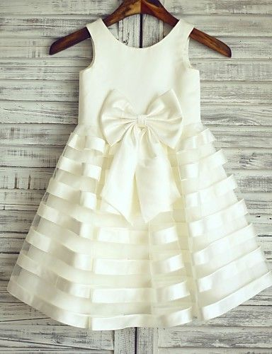 Princess Knee-length Flower Girl Dress - Satin / Tulle Sleeveless Scoop with 2016 - €58.79