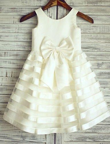 Princess Knee-length Flower Girl Dress - Satin / Tulle Sleeveless Scoop with 2016 - €58.79