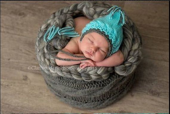 Baby prop hat Blue Newborn Hat knit newborn by HandmadeTrend