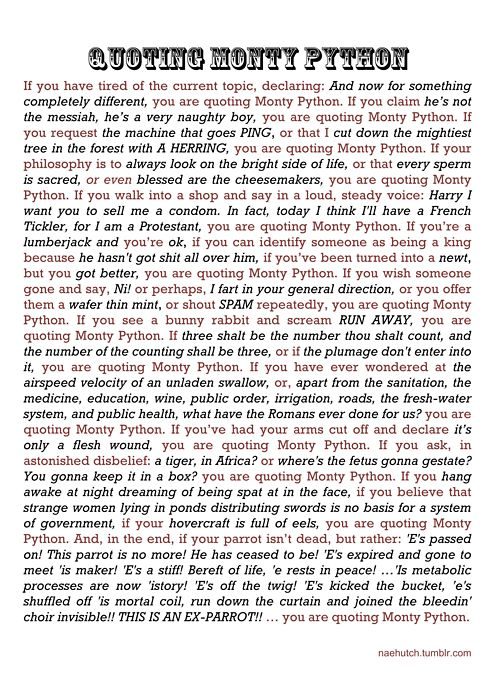"""What I know about life I learned from Monty Python poster in the future? If you find yourself saying, """"it's just a flesh wound"""" after receiving a injury than Monty Python has changed your life."""