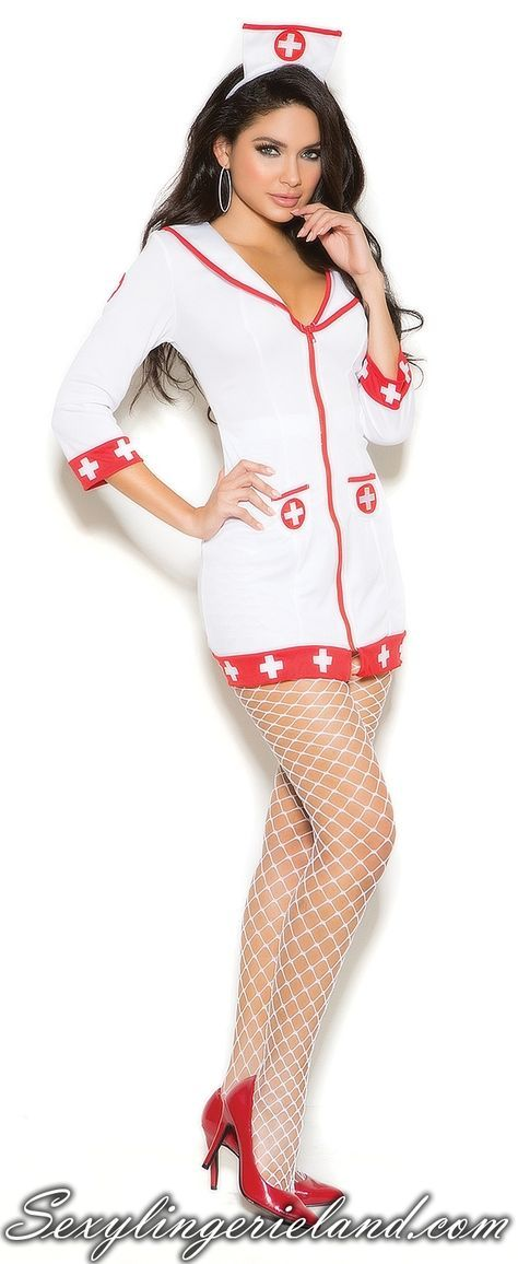 Cardiac Arrest Nurse Costume Girls love stylish costumes. Spice up your beauty, be sexy #nurse with Cardiac Arrest Nurse costume. Dressy outfit includes white/red mini dress with zipper front and head piece. Don't forget to enhance your look with EM-1722 White fishnet #pantyhose #Costume is available in plus size.  #sexylingerieland #outfit #fashion #style #look #minidress