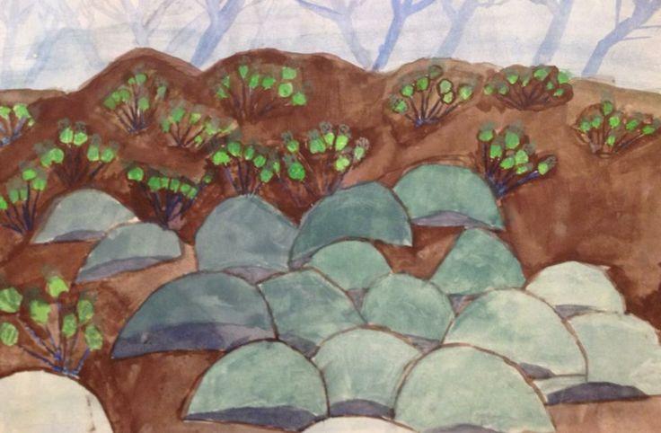 "early Connor Effron art  I call ""Rocks"""