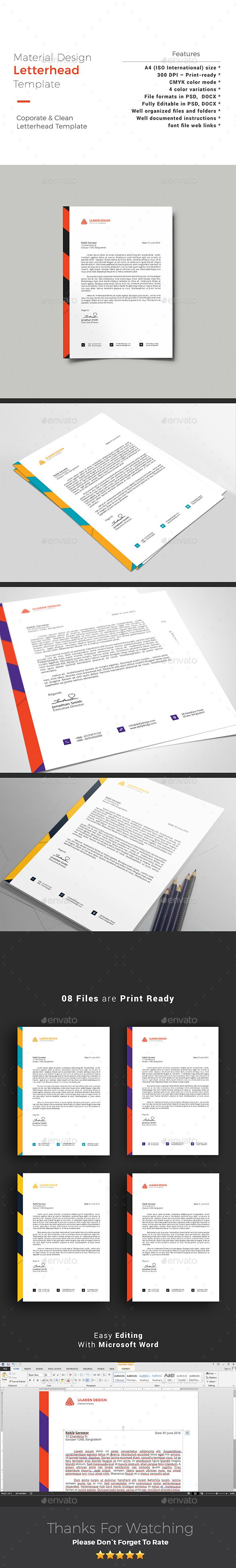 22 best letterhead template images on pinterest letterhead material design letterhead spiritdancerdesigns Choice Image