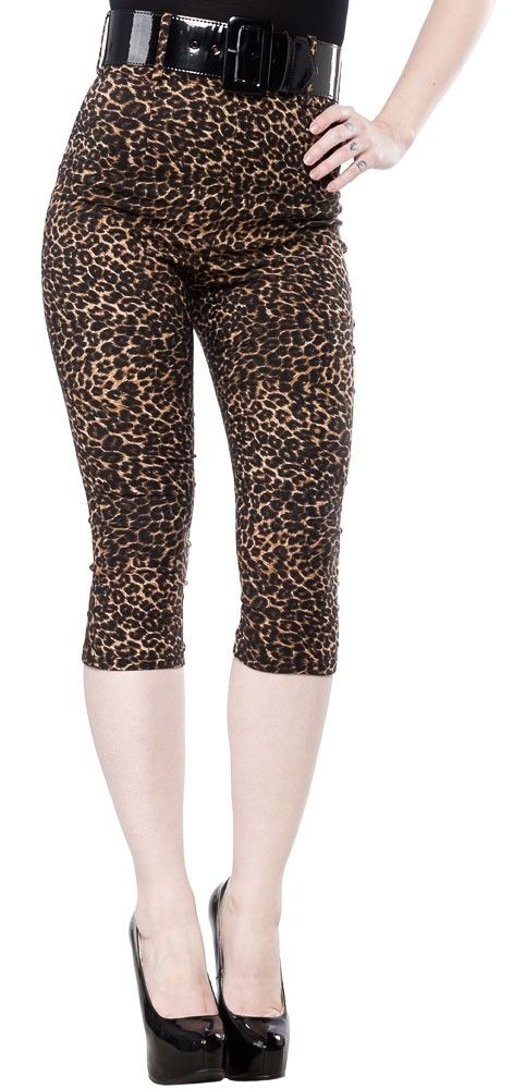 DEADLY DAMES DEADLY CURVES LEOPARD CAPRIS Me-ow! Release your inner kitten with these Deadly Curves Capris from Deadly Dames! Perfect for any leopard lovin' pinup or psychobilly gal, these capris have just the right amount of stretch to hug you in all the right places. Deadly Dames Capris feature a high waist design, zip closure in the back, and come with a black wide vinyl belt. $82.00 #deadlydames #pinup #rockabilly #retro #psychobilly #capris #leopard