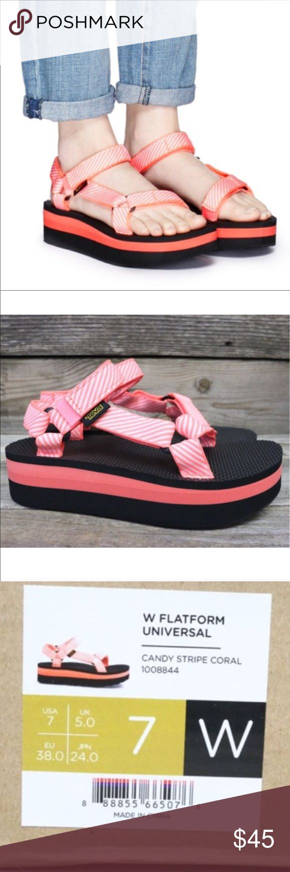 Teva Flatform Universal Candy Stripe Sandals 7 New and authentic  Teva Shoes Sandals