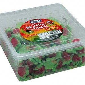 A bulk tub of Vidal Jelly Filled Strawberry Tub.