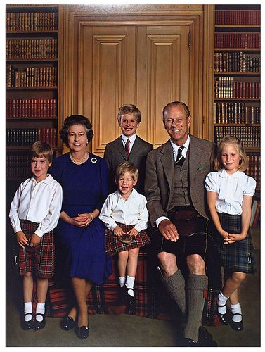 Queen Elizabeth II with husband Prince Philip and grandchildren