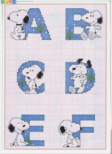 snoopy cross stitch pattern | Alfabeto com o Snoopy - Esquemas de Ponto de Cruz                                                                                                                                                                                 More
