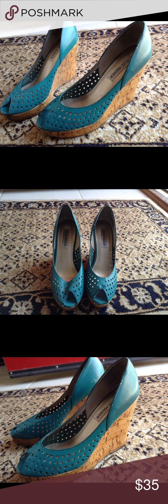 Steve Madden turquoise wedge Turquoise wedge by Steve Madden, excellent condition Steve Madden Shoes Wedges
