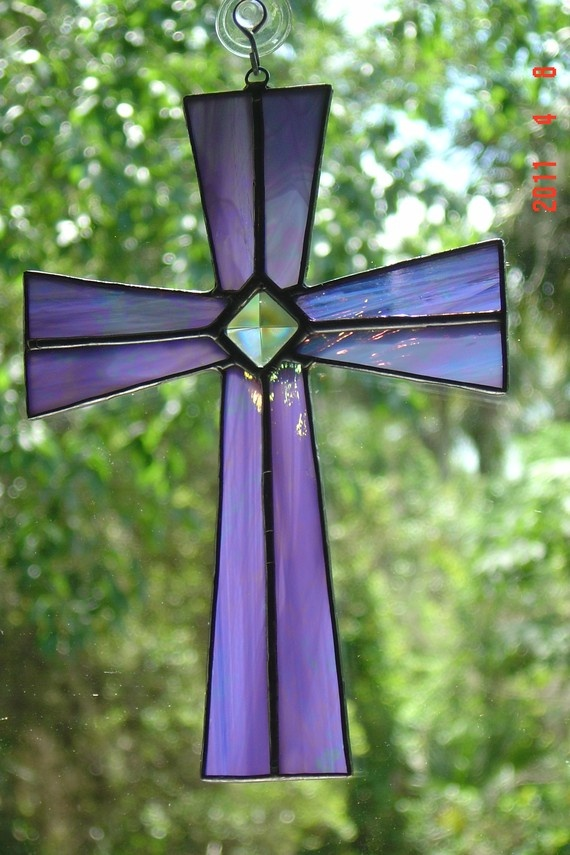 Lavender Stained Glass Cross with glass by StainedGlassAndMore, $24.99