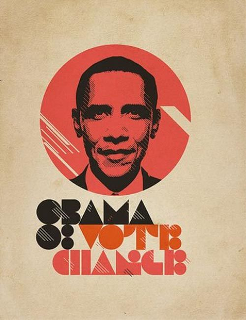 Obama '08 Vote Change   11 Powerful Poster Designs That Were Created For USA Presidential Election 2008