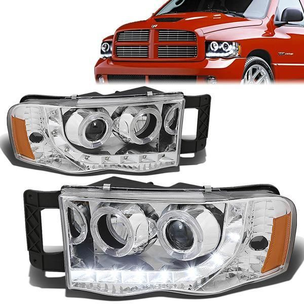 D Motoring 02 05 Dodge Ram 1500 2500 3500 Headlights Led Drl Halo Rings Chrome Housing Amber Corner Projector P Headlights Dodge Ram Dodge Ram 1500