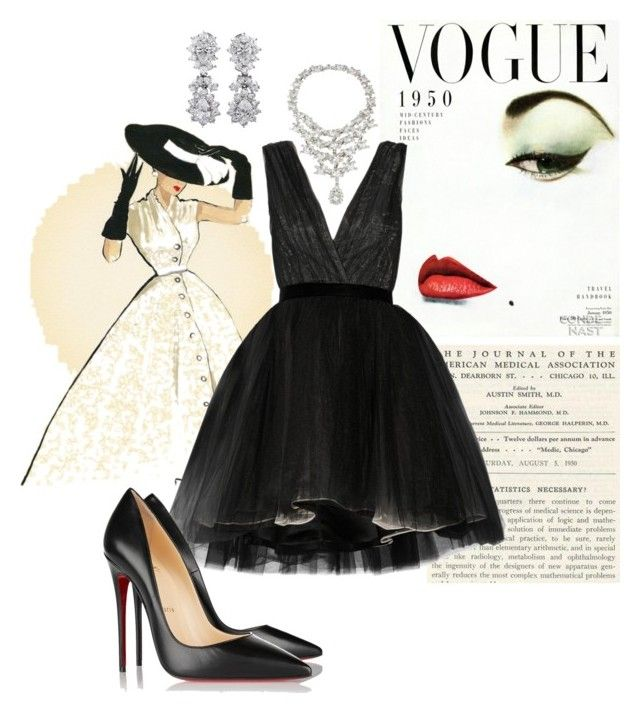 1950s by neeacamillaa on Polyvore featuring Alice + Olivia, Christian Louboutin, Uti, outfit, black and Collage