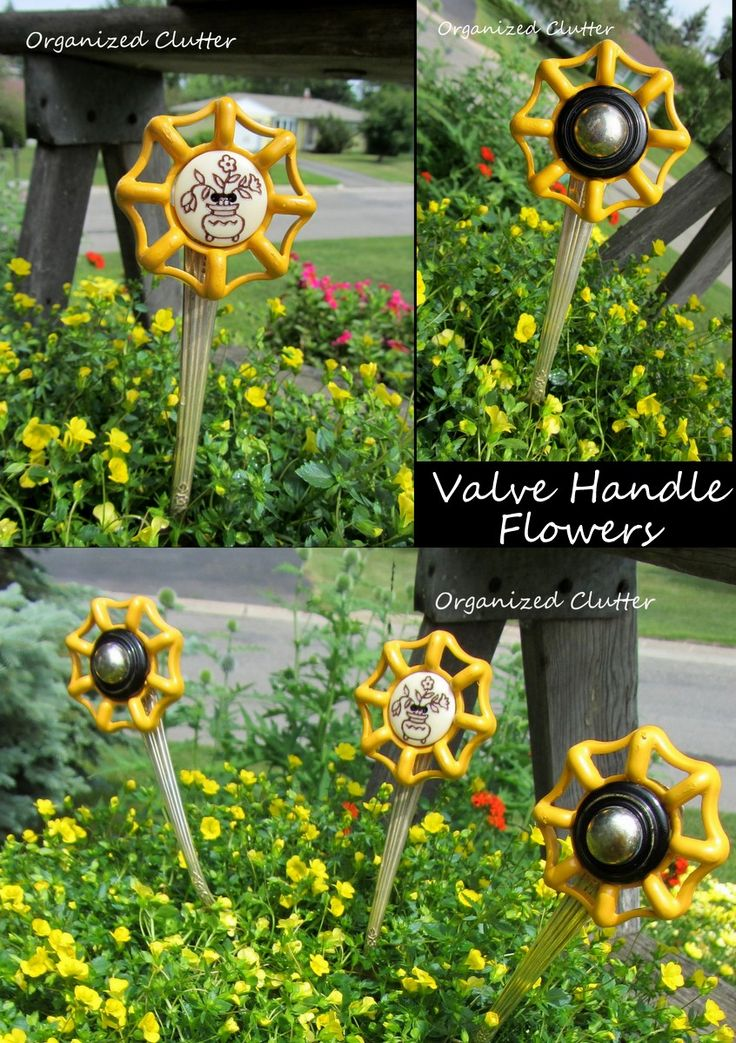Valve/Faucet Handle and Fork Junk Flowers.