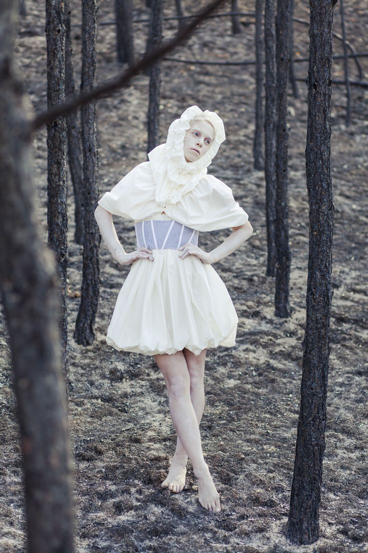 photoshooting in a burnt forest - white
