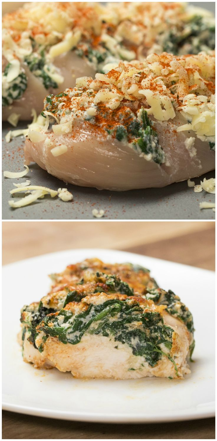 Hasselback Chicken - chicken, spinach, ricotta cheese, mozzarella cheese, paprika