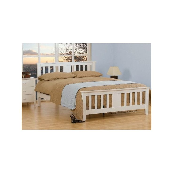 Białe drewniane łóżko do sypialni Magnolia