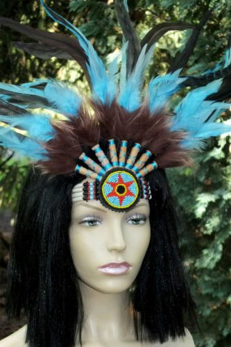 indianer,stirnband,50x35cm,kopfschmuck,federschmuck,türkis,choker,bone,mandala   eBay