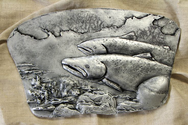 Bas Relief Wall sculpture Atlantic salmon Original 3D wall art by SyzymStudio Home office decor Unique gift for fisherman Silver gold tile by SyzymStudio on Etsy