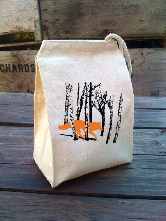 Eco Lunch Sack with FOX / WOLF running in the woods by alittlelark, $22.00