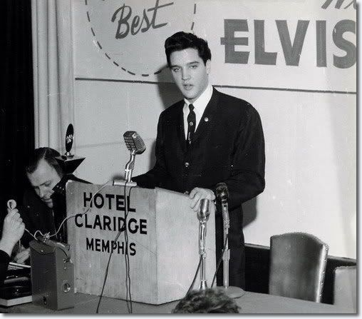 February 25 in 1961 was a big deal day for Elvis. Is was the first Elvis Presley Day as declared in Memphis by Tennessee Governor Buford Ellington. At a luncheon in his honor, RCA presented him with a diamond watch commemorating his 75 million records sold, and Elvis held a press conference. As part of the festivities, he performed two charity shows at the city's Ellis Auditorium followed by a private party at Graceland late in the evening. Happy Elvis Presley Day!