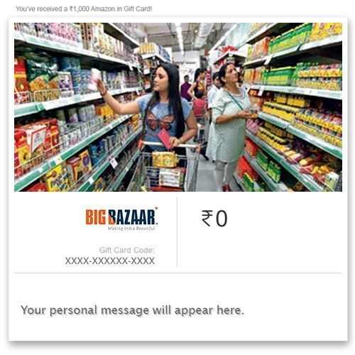 Big Bazaar Instant Voucher    Big Bazaar Instant Voucher INR 250.00 View Details  6 of 6 people found the following review helpful   Aewsome product. I have used this by showing it ...   By  Tanmoy Naskar - See all my reviews  Verified Purchase(What is this?)  This review is from: Big Bazaar - Digital Voucher (Ecard Gift Certificate)  Aewsome product. I have used this by showing it to the checkout point in the bigbazar they copied a number from the coupon email and my payment was done. It…