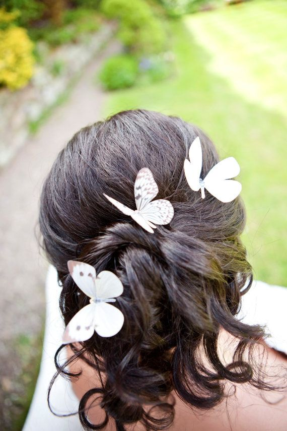 Hand Cut silk butterfly hair pins Trio of Delicate by flutter2me