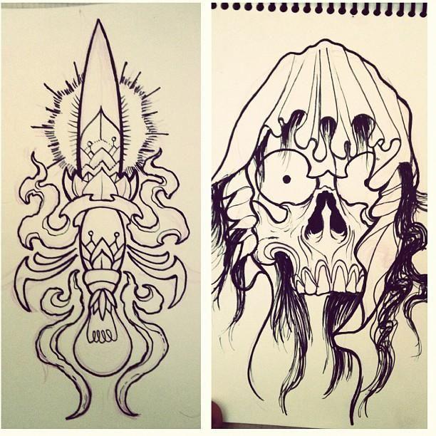 Off the Map Tattoo : Original Art : Tattoo Flash Design : 2 sketchs