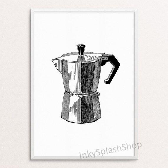 Coffee Art Printable Minimalist Kitchen Wall Decor Moka Pot Etsy In 2020 Coffee Art Printable Coffee Art Print Coffee Art