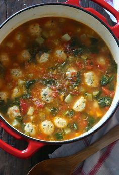 This family friendly soup is perfect to warm up to on a chilly autumn night. It's made with mini turkey meatballs, tomatoes, zucchini, carrots, spinach and my secret ingredient for the best tasting soup – a parmesan cheese rind. I always keep the rinds in my freezer just for making soup, so don't throw them out!     It also makes great leftovers and can be frozen if you want to make this ahead for the month. Enjoy!   Mini Turkey Meatball Vegetable Soup Skinnytaste.com Servings: 7 • Size: 1…
