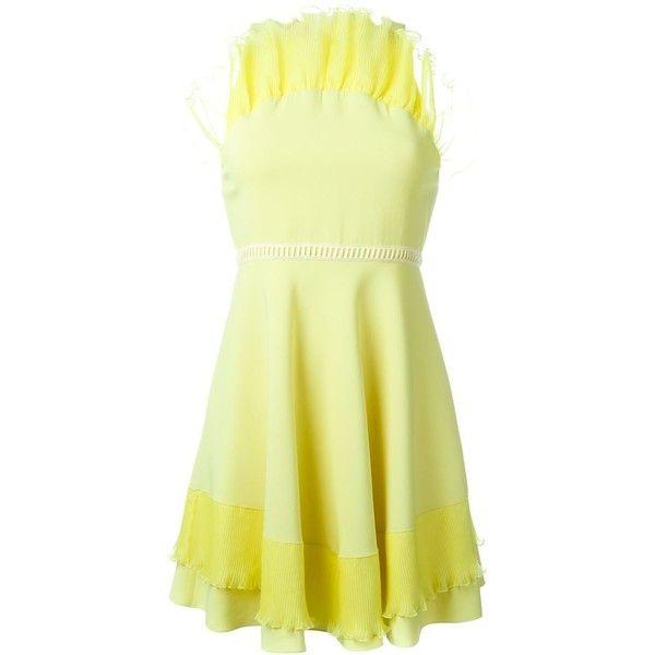 Giamba ruffled cady mini dress ($711) ❤ liked on Polyvore featuring dresses, yellow, mini dress, yellow dresses, frilly dresses, flounce dress and short ruffle dress