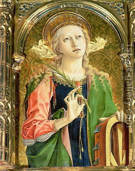 Carlo Crivelli:St. Catherine of Alexandria, detail of the Sant'Emidio polyptych, 1473