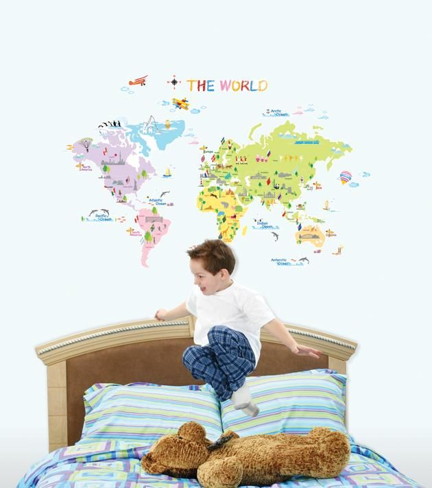 Väggdekor Världskarta för barn - Hem