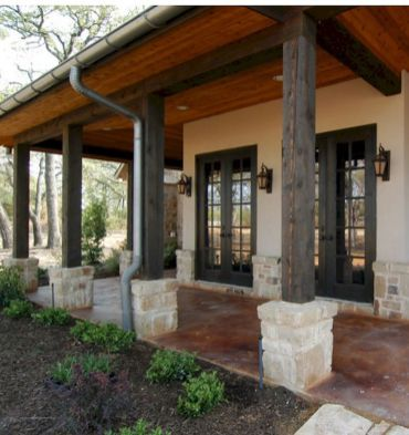 Gorgeous wooden and stone front porch ideas (7)