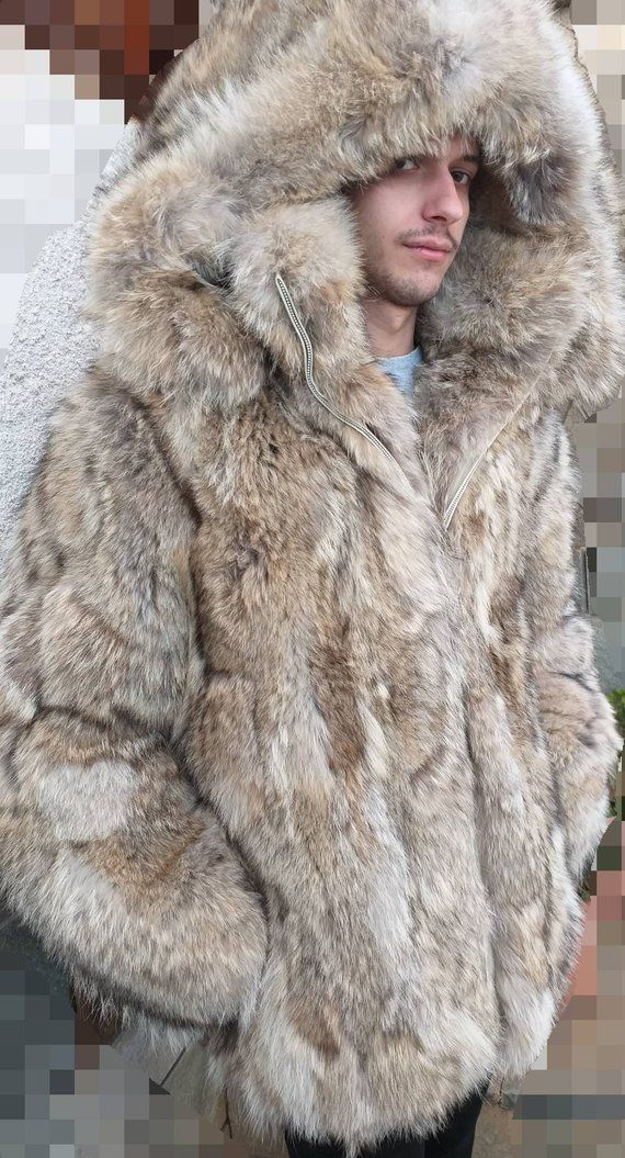 MEN'S NEW!!! Real Natural Hooded COYOTE Fur Coat with