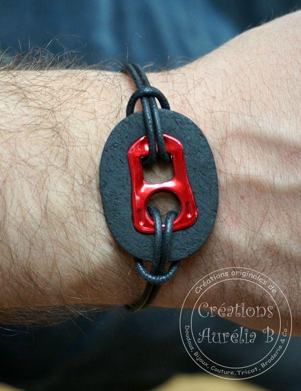 Création Aurélia B. - Bracelet pour ces Messieurs avec languette de cannette et argile polymère