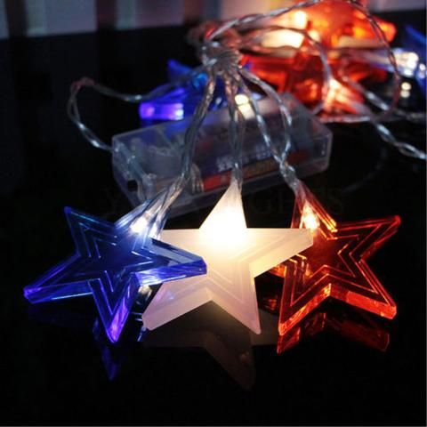 10 LED battery light white five-pointed star with red &blue Garland Lights New