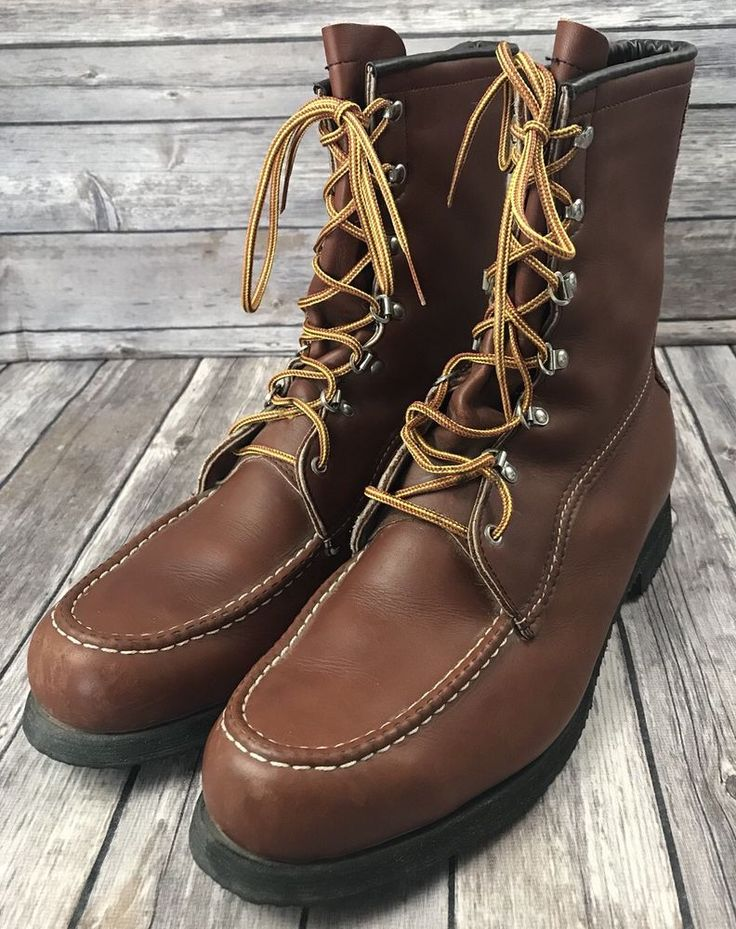 Vintage Field And Stream Brown Leather Hunting Boots Size 12 B Crepe Sole  #FieldStream #HuntingBoots