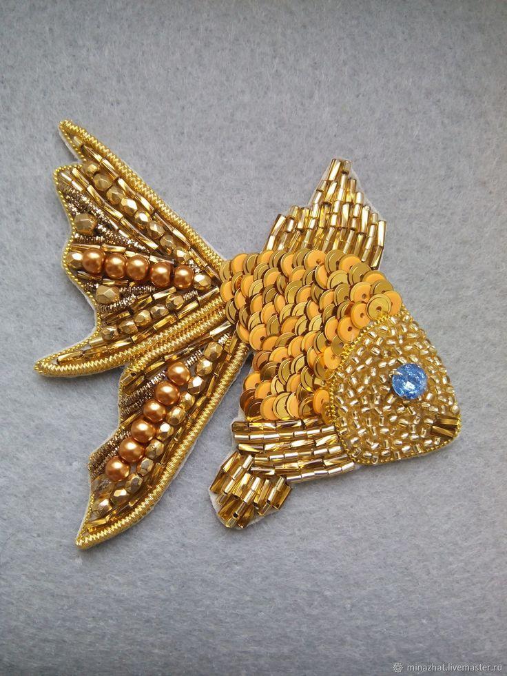 Броши ручной работы. Ярмарка Мастеров - ручная работа. Купить брошь золотая рыбка. Handmade. Золото, подарок девушке