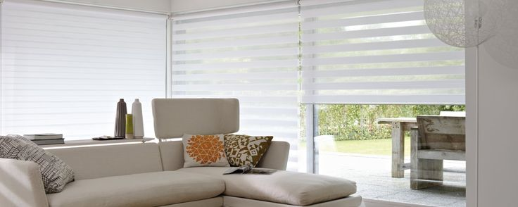 """Amazing addition to existing window coverings. Two sliding layers of fabric with sheer horizontal strips. This is the hallmark of Luxaflex® Twist® Roller Blinds, a contemporary addition to existing styles of window coverings. It's an amazingly simple and effective method for choosing just the right amount of incoming light and privacy.  Our Twist® Roller Blinds feature """"Child Safe systems(Child Safe systems)"""":#personalize including motorised systems, crank operation and chain tensioner."""