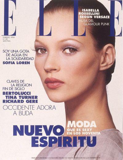 """"""" Elle Spain, February 1994. Model: Kate Moss. """""""