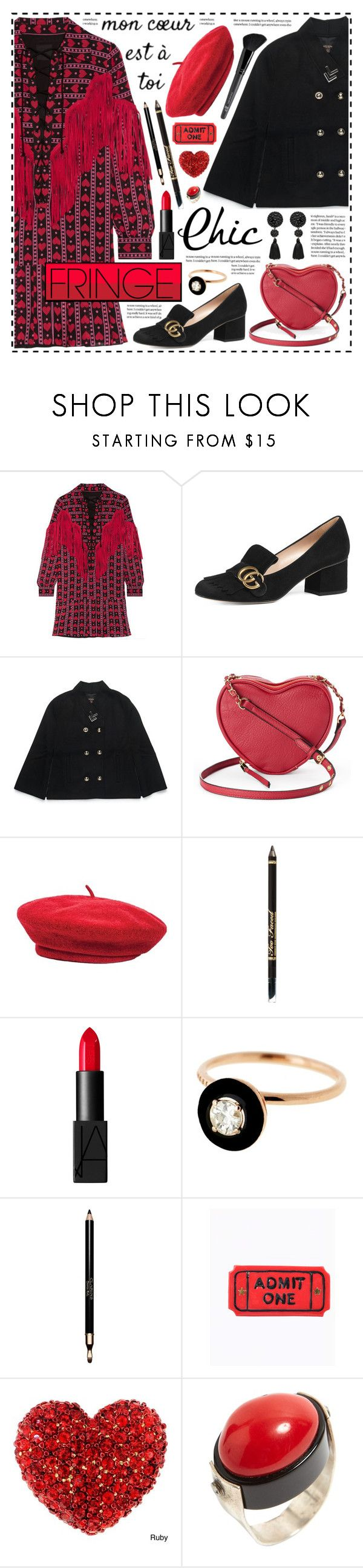 """""""Parisian Chic!"""" by hennie-henne ❤ liked on Polyvore featuring Anna Sui, Gucci, Henri Bendel, Juicy Couture, Brixton, NARS Cosmetics, Selim Mouzannar, Clarins and Old Navy"""